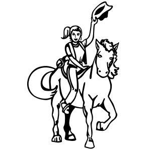 Girl on Horse Coloring Page