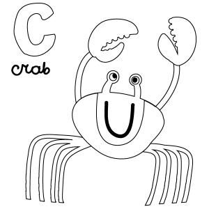C for Crab Coloring Page