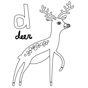 D for Deer Coloring Page