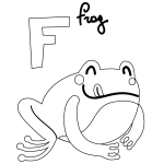 F for Frog free Coloring Page