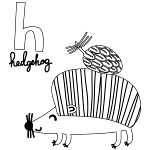 H for Hedgehog Coloring Page