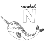 N for Naruhal Coloring Page