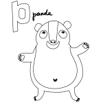 P for Panda Coloring Page