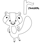 R for Racoon Coloring Page