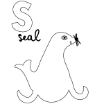 S for Seal Coloring Page