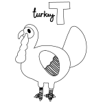 T for Turkey Coloring Page