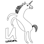 U for Unicorn Coloring Page