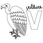 V for Vulture Coloring Page