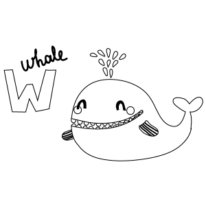 W for Whale Coloring Page