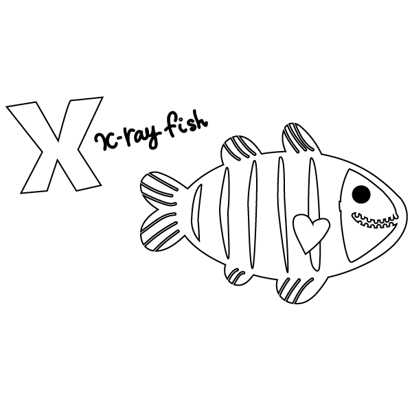 X for Xray Fish Coloring Page