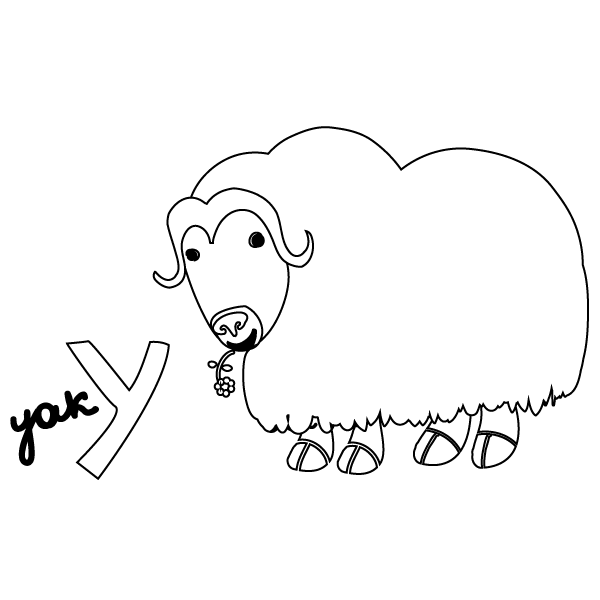 Coloring Pages Yak : Y for yak coloring page