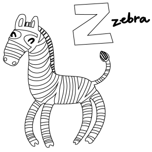 Z for Zebra Coloring Page