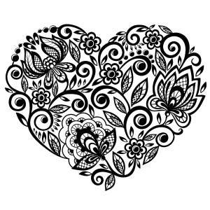 Floral Heart Coloring Page