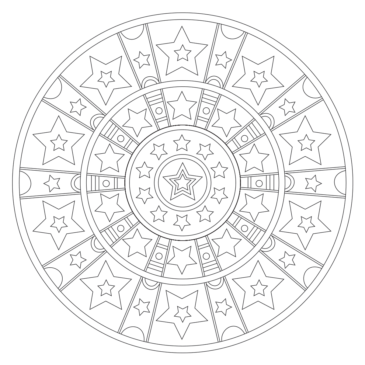 Stars stripes mandala for Stars and stripes coloring pages
