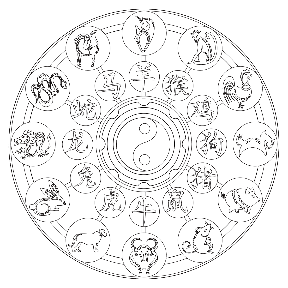 chinese zodiac coloring page. Black Bedroom Furniture Sets. Home Design Ideas