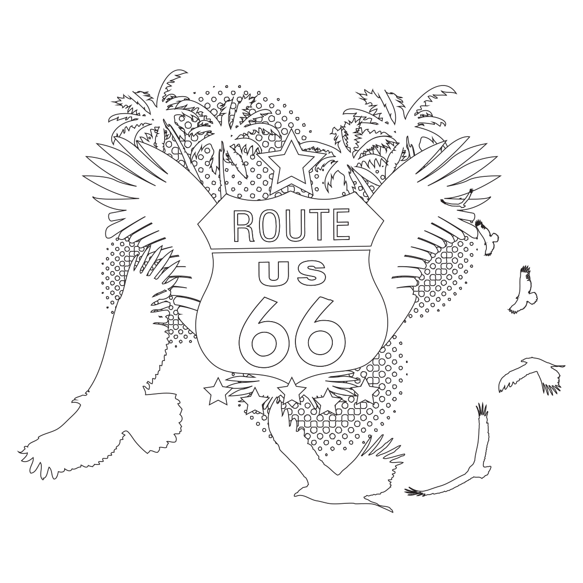 Route 66 Coloring Page Route 66 Coloring Pages