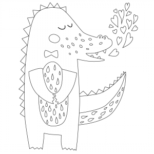 Sweet Crocodile Coloring Page
