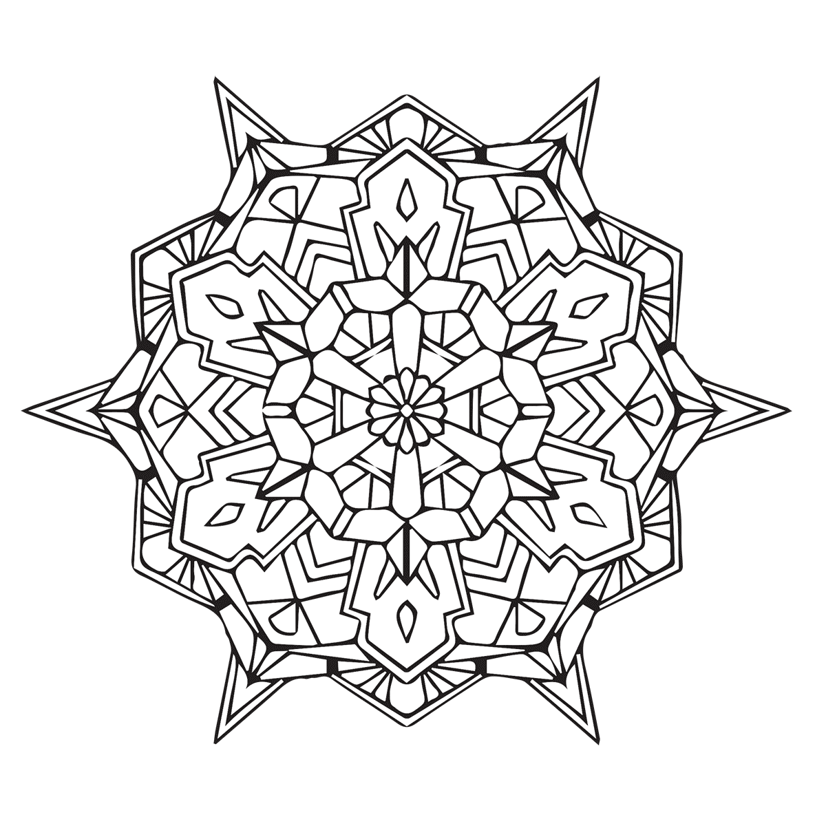 geometric mandala coloring page. Black Bedroom Furniture Sets. Home Design Ideas