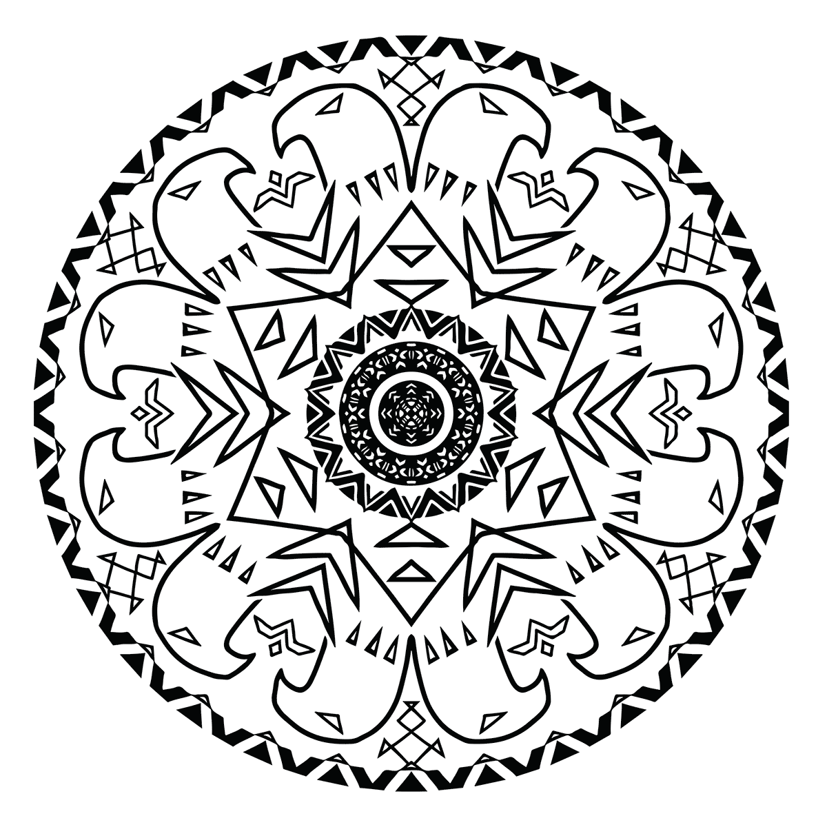 Eagle Mandala Coloring Page