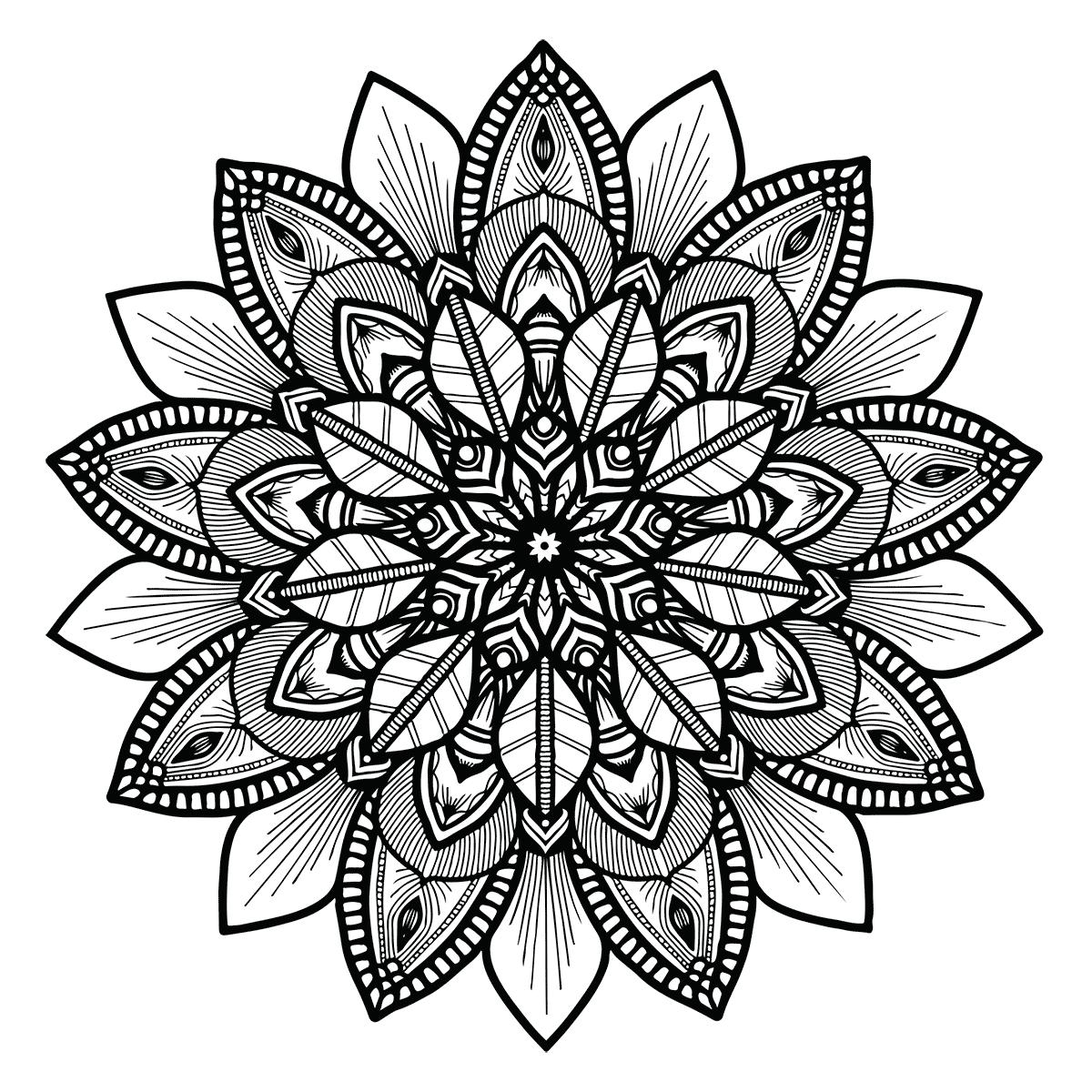 Floral mandala for Mandala design coloring pages