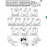 Healthy Heroes: How to wash your hands - free coloring page for kids
